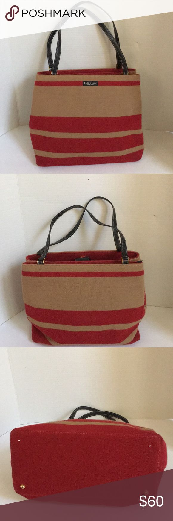 Kate spade vintage Sagaponack stripe Shoulderbag This is a nice Kate Spade vintage stripe shoulder bag from 2001. Features tan and red striped material exterior. 8 inch leather shoulder straps. Goldtone hardware. Has protective and metal feet at the bottom but two of the feeder missing. Has two interior compartments. One zipper closure and the other magnetic snap closure.  Zipper pocket inside with made in Italy stamp. Great condition for vintage. Just light signs of use. No significant…