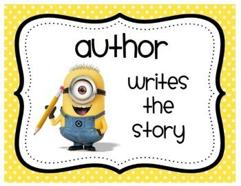 This PDF contains story elements with a minion theme for each of the following: title, author, illustrator, characters, setting, plot, conflict, and resolution. ***This PDF uses font and background from Mrs. Ricca's Kindergarten.