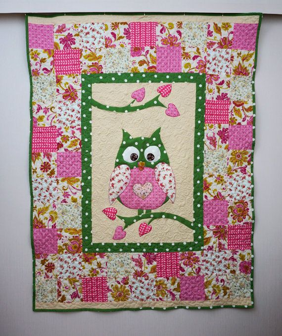 Owl Quilt, Patchwork Quilt for Children, Baby Girl Blanket, Green and Pink Patchwork Bedding, Kids Single Bed Quilt, Romantic Handmade Quilt