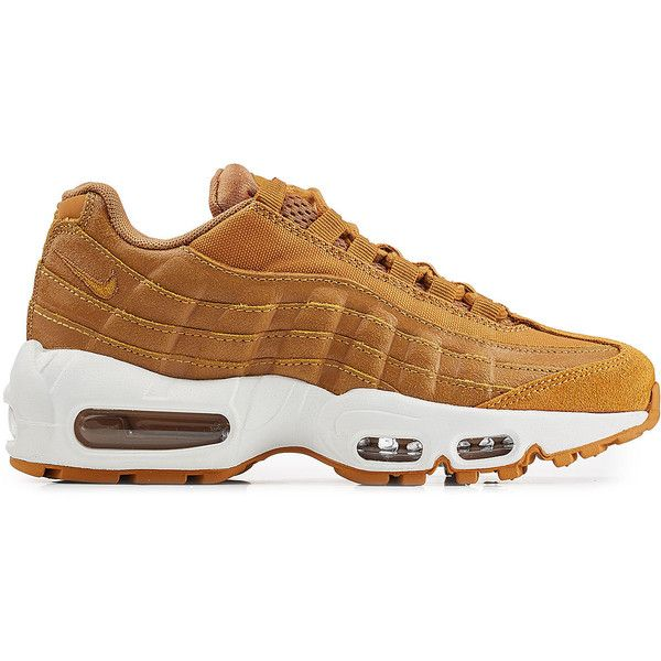Nike Air Max 95 Premium Leather Sneakers ($219) ❤ liked on Polyvore featuring shoes, sneakers, leather sneakers, camel shoes, leather footwear, real leather shoes and nike sneakers