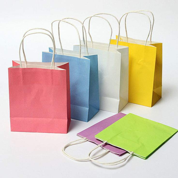 1~50Pcs Luxury Party Bags Kraft Paper Gift Bag With Handles Recyclable Loot Bag #Unbranded