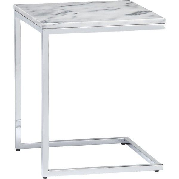CB2 Smart Marble Top C Table ($149) ❤ liked on Polyvore featuring home, furniture, tables, accent tables, side table, marble top accent tables, cb2, white marble top coffee table, chrome accent table and marble top end table