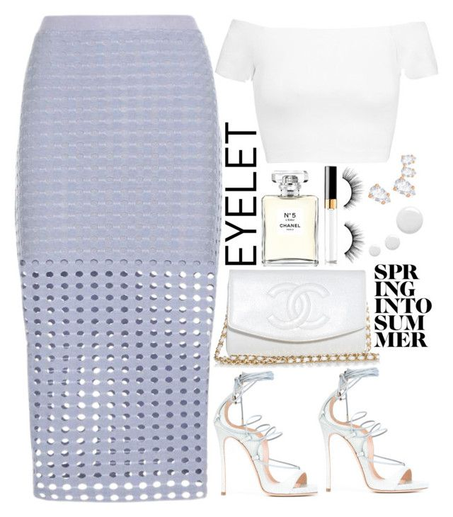 """Untitled #1799"" by mihai-theodora ❤ liked on Polyvore featuring Chanel, T By Alexander Wang, Alice + Olivia, Dsquared2, Swarovski, tarte and Topshop"