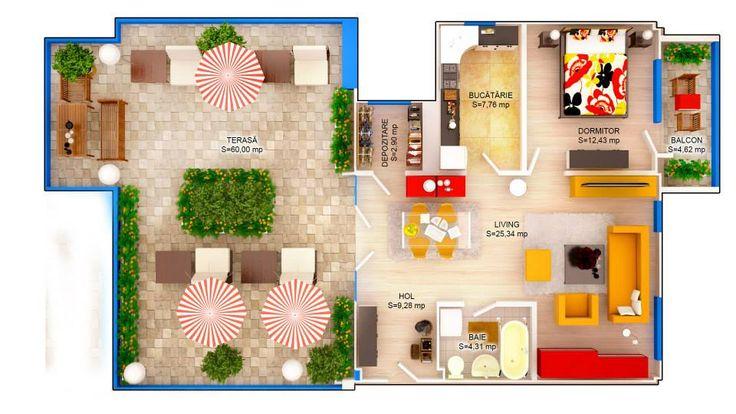 APARTAMENT LILY SKY - 2 CAMERE Suprafaţă construită: 56 mp Suprafaţă utilă: 45.57 mp Suprafaţă terasă: 55.50 mp Apartament disponibil doar la etajul 4 PRET: 46.900e + TVA 5%
