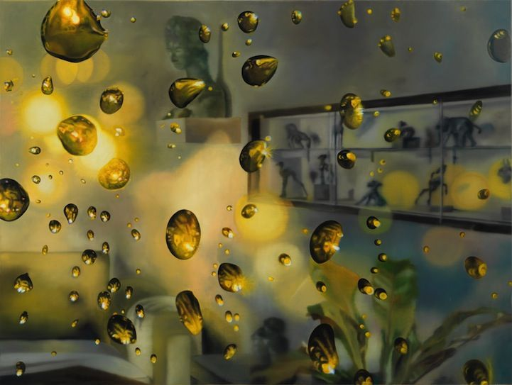 karin kneffel, photorealistic paintings of rainy windows.