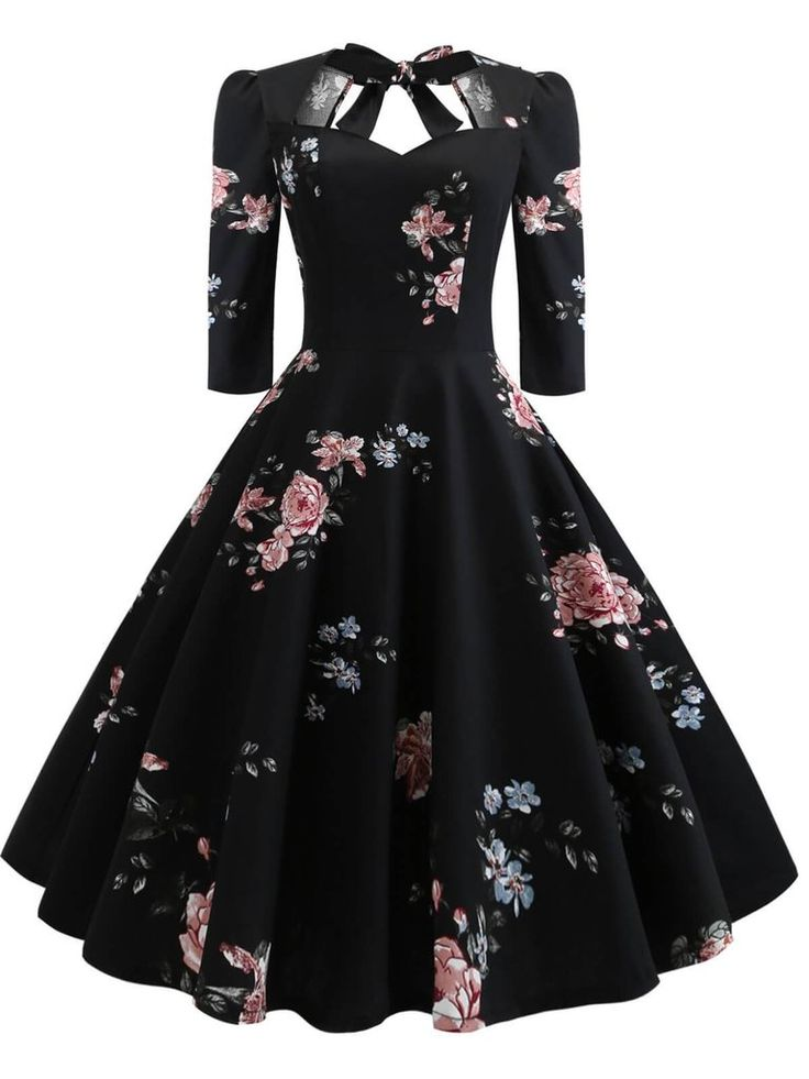 1950s Floral Lace Up Swing Dress