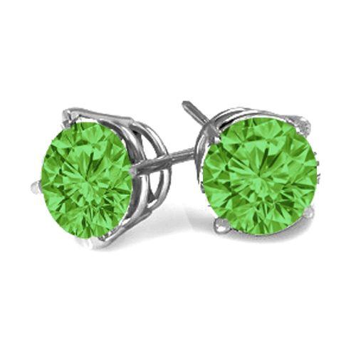 #6016 Green Diamond Brilliant Cut Earrings in 14k White Gold 0.2
