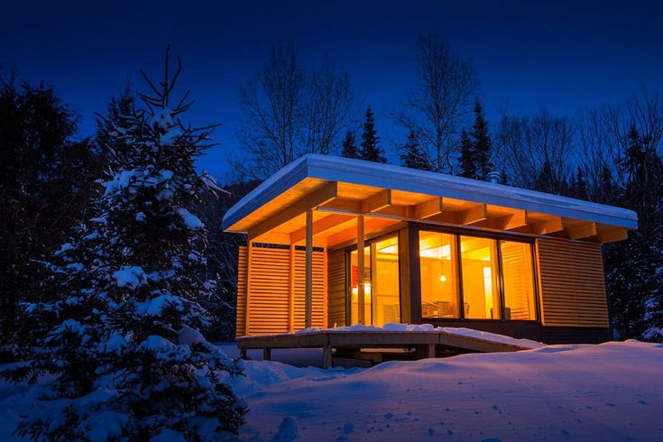 Chalet EXP, a modern 320 sq ft studio cabin for vacation rentals in a Quebec provincial park.   www.facebook.com/SmallHouseBliss