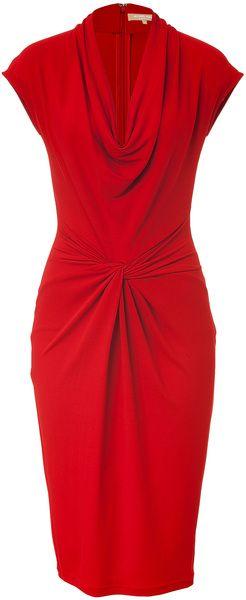 Crimson Red Draped Dress  Michael Kors