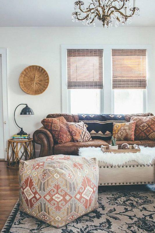 Bohemian Decorating Ideas Leather Sofa