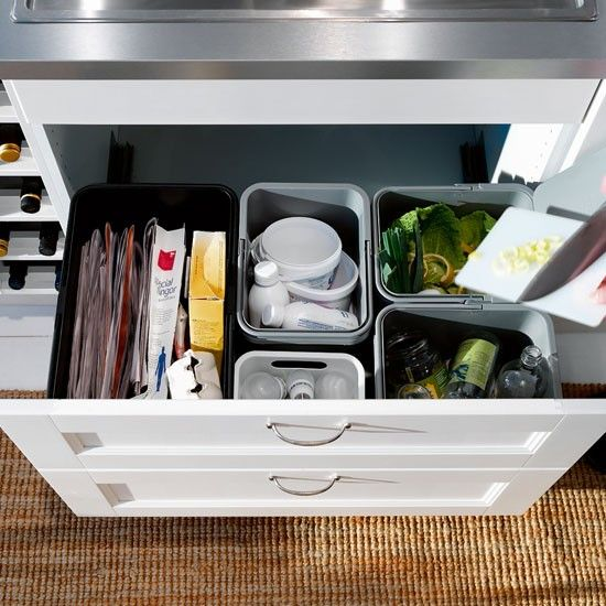 Organise your paper, plastic and glass with Ikea's Rationell waste-sorting boxes, priced at £9.18 for a pack of three.