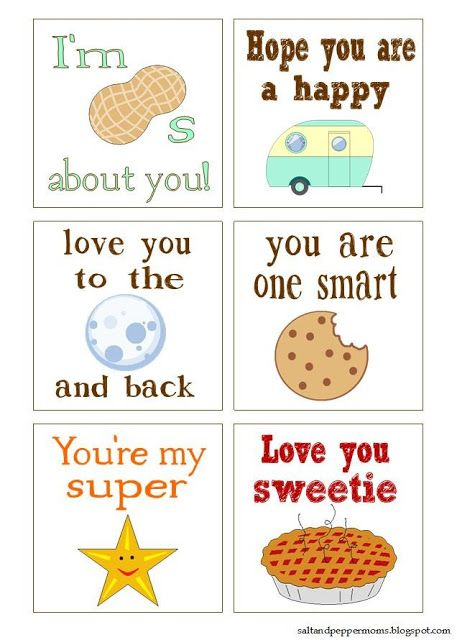 Cute printable notes for kids' lunch boxes!