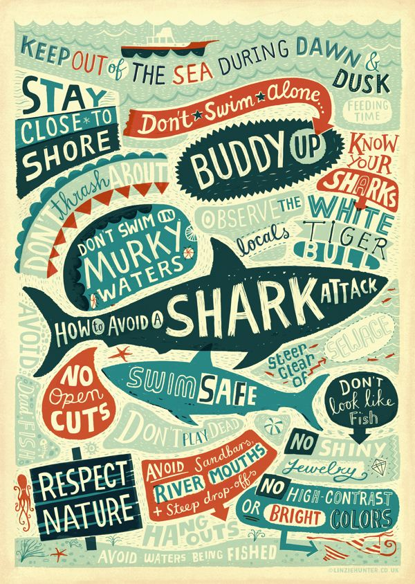 Different ways to use this inspiration: school of fish theme, ocean theme. Combine words with simple outline illustrations. Color theme, shapes.