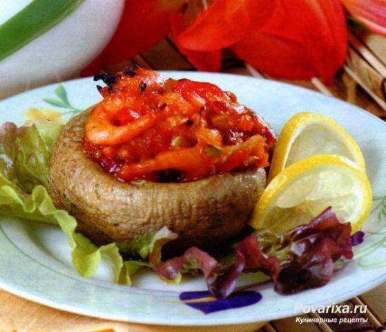 Запеченные фаршированные грибы - рецепт