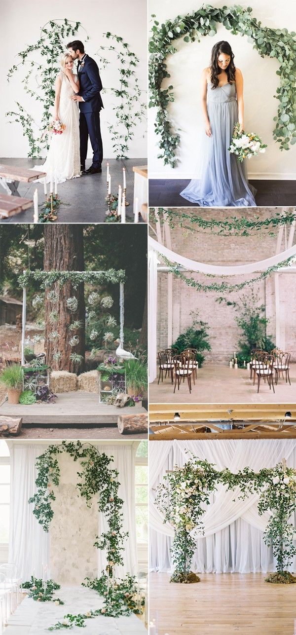 beautiful wedding backdrops decorated with greenery and foliage