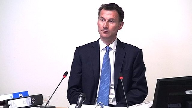 Leveson enquirey goes on. Jeremy Hunt sent a congratulatory text message to News Corp executive James Murdoch just hours before he was asked to oversee the firm's bid for BSkyB, the Leveson Inquiry has heard.