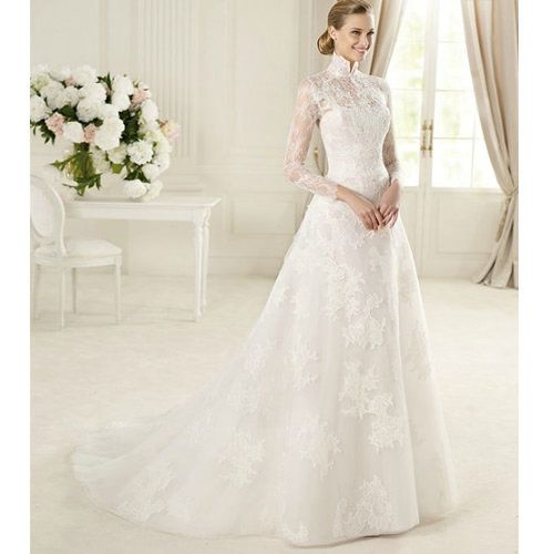 Simple White Lace Long Sleeve Vintage Style Fall Winter Wedding Dress Gown SKU on Wanelo