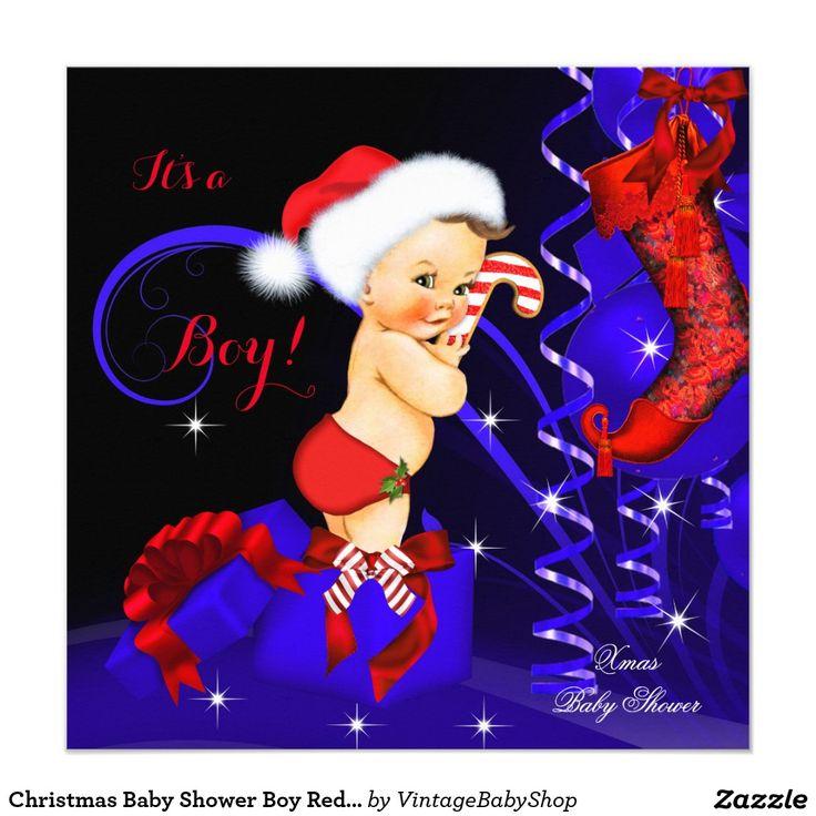 Christmas Baby Shower Boy Red Blue Brunette Invitation