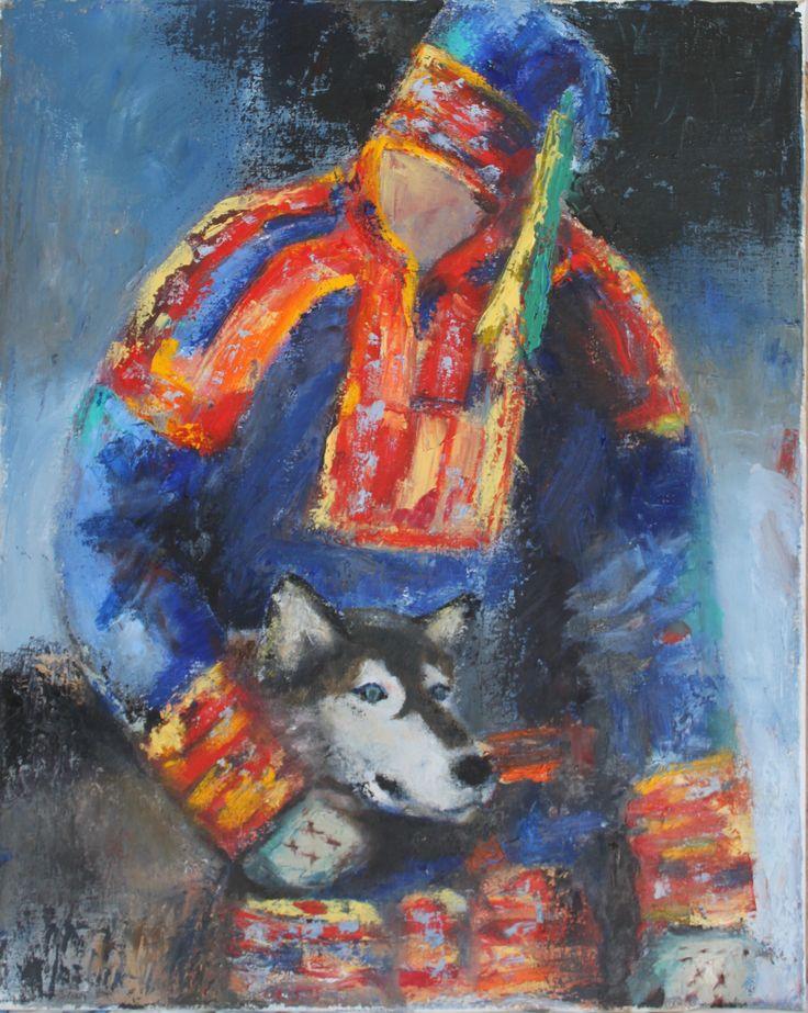 Husky and Herder, 60x50, oil on canvas, 2017. Jusoik.com