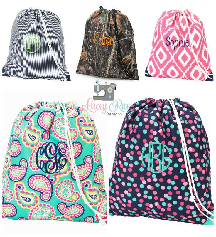 Personalized Gym Bag, Gymnastics Bag, Sports Bag, Dance Bag, Monogrammed Drawstring Bag by LaceyRaeDesigns on Etsy https://www.etsy.com/listing/236876965/personalized-gym-bag-gymnastics-bag