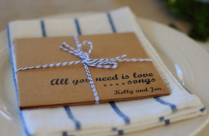 Gift idea for the guests: mix cd with handmade cd covers. Too cute!