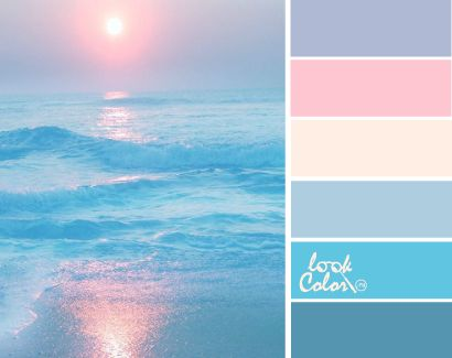Color Harmony: The pale pinks and blues compliment each other and represent  a peaceful sunset.
