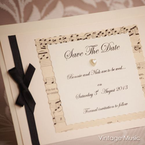 Save the Date Postcards...created from vintage music sheets and with pearl heart and satin ribbon embellishment