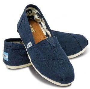 Dark Blue Toms Canvas Flat Shoes