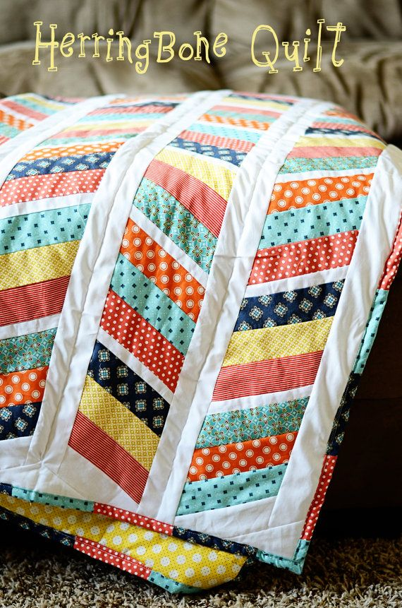 Herringbone Quilt Pattern_simple peach and turquoise alternating design, cream accents and back?