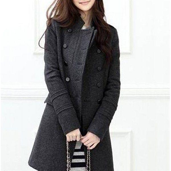 Stylish Double-Breasted Epaulet Embellished Long Sleeves Slimming Overcoat For Women