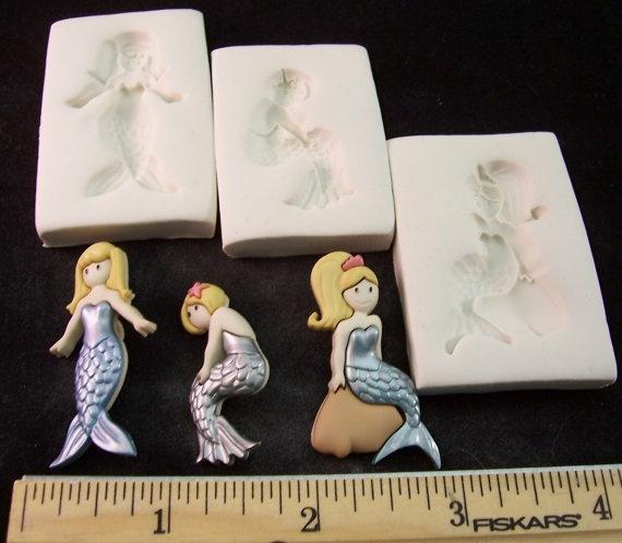 Mermaid 3 Mold Lot Hard Polymer Clay mold for by FairyDustDoors, $6.50