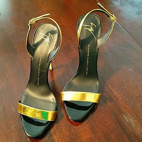 Giuseppe Zanotti patent high heel halter sandal GORGEOUS gold patent high heel halter back sandal. Worn once indoors.  No box.  Small nick on back of one heel. Sold out at all major luxury retailers. Giuseppe Zanotti Shoes Sandals