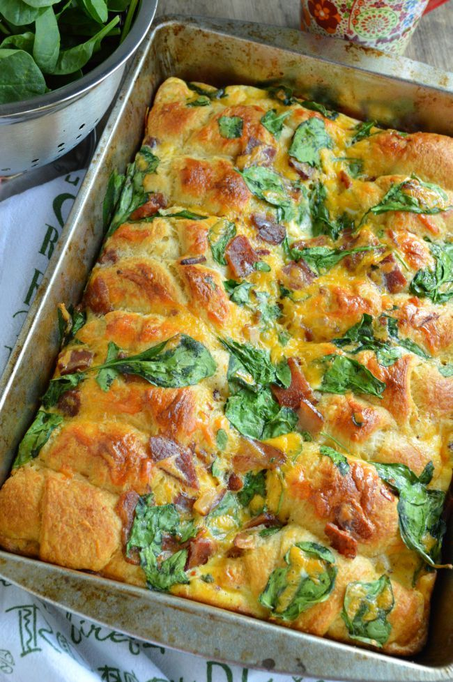 Crescent Roll Breakfast Bake with Bacon and Spinach