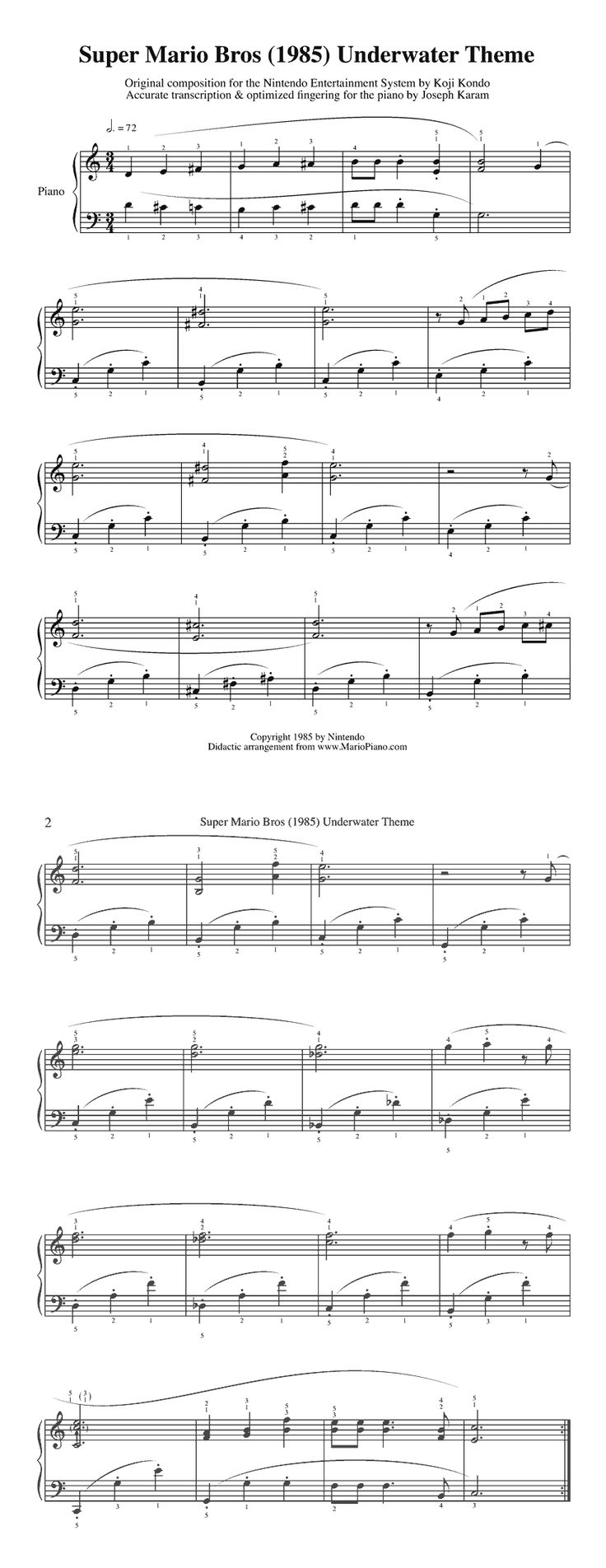 Super Mario Sheet Music!!