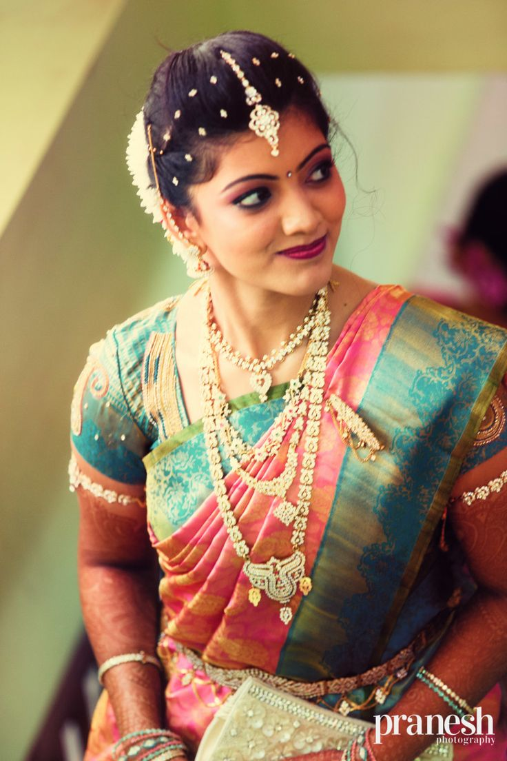 elegant pink and turquoise bridal saree with diamond and