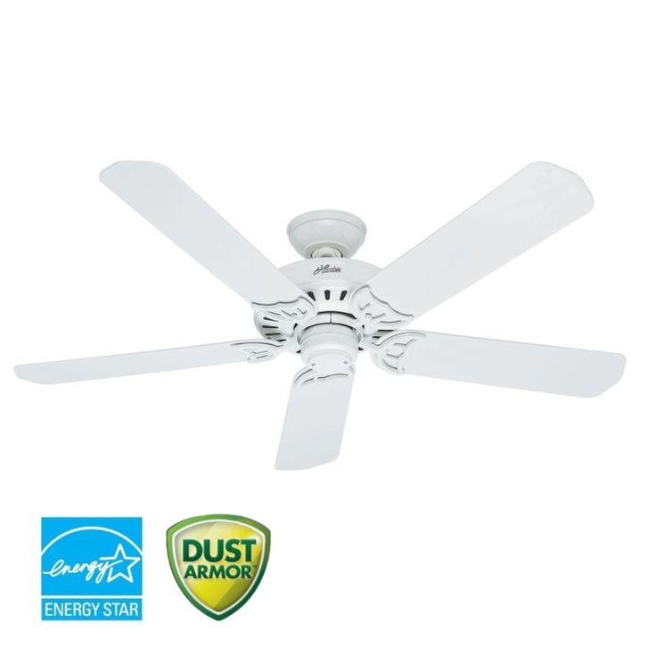 """Hunter Bridgeport 52"""" Energy Star Rated Indoor / Outdoor Ceiling Fan - 5 Blades White Fans Ceiling Fans Outdoor Ceiling Fans"""