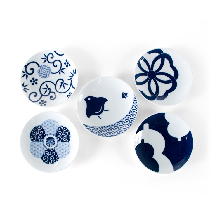 KIHARA/Mamezara 5種セット(吉祥紋様) 3150yen 縁起の良い伝統柄をモチーフにした豆皿の5枚セット