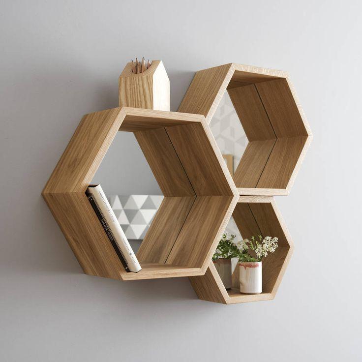 hexagon mirror shelves by james design   notonthehighstreet.com
