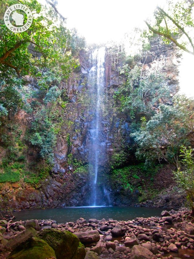 Secret Falls in Kauai - With the help of a hand-drawn map and a send-off in the right direction from Wailua Kayak trekked by kayak and foot to Secret Falls. It was truly the best part of the trip! We paddled two miles down the Wailua River until we reached a spot that slightly resembled a circled area on our map, and anchored our boats. We crossed the river, climbed up a small hill, and hiked for about an hour. Up ahead was Secret Falls, and it was completely secluded.