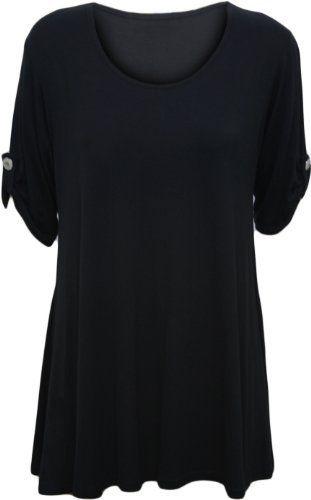 WearAll – Haut flottant avec une encolure degagée et à manches longues – Hauts – Femmes – Grandes tailles 42 à 56: Femmes Grande Taille…