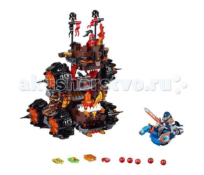 Конструктор Lego Нексо  Роковое наступление Генерала Магмара  Lego Nexo Knights Нексо Нексо Роковое наступление Генерала Магмара собирается из 516 деталей и включает 3 минифигурки.  После сборки мы получаем огромную ужасающую осадную машину Генерала Магмара и Рыцаря Нексо Клэя верхом на своем боевом скакуне. Среди аксессуаров стоит отметить 5 Глоблинов, 3 Нексо силы и Книгу Разрушений, которая ни в коем случае не должна попасть в руки приспешников Джестро.  Начнём с «хороших парней». В руках…