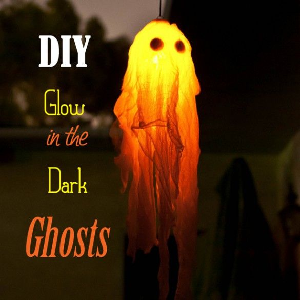 DIY Glow In The Dark Halloween Ghost Craft - 1 large clear plastic christmas ornament, 1 to 3 glow sticks (or glow necklaces) that are small enough to fit inside the ornament, Round black felt stickers, or black felt cut into circles, 6 feet of cheese cloth