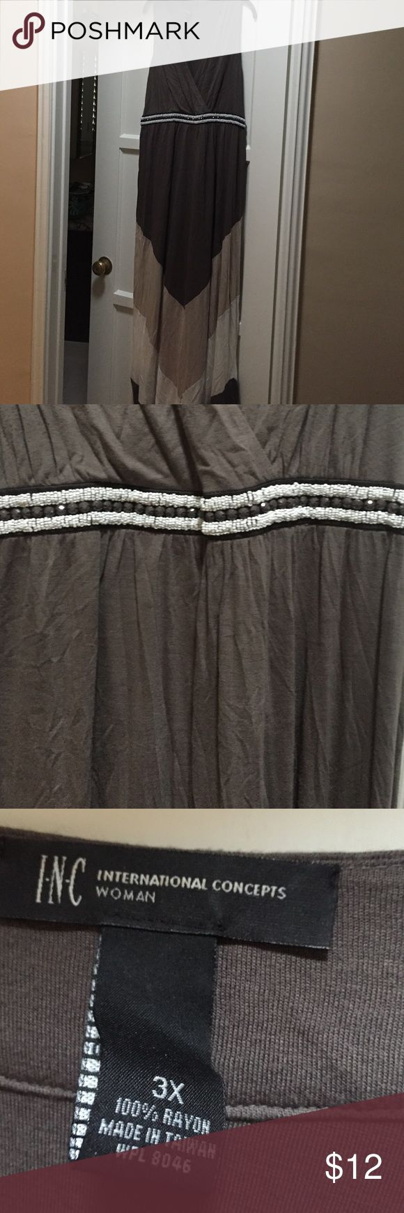 INC beaded waist maxi dress, 3X Beige, white, and brown maxi dress. Great beading at waist with cross front at bust. INC International Concepts Dresses Maxi