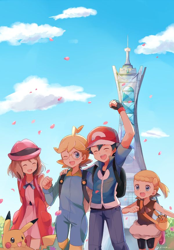 The X and Y anime characters- Ash, Serena, Clemont, and Bonnie!