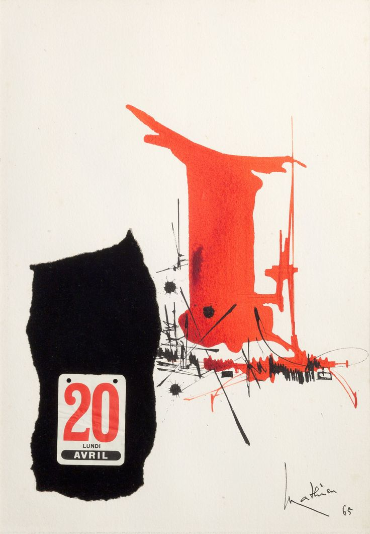 Georges Mathieu Composition 20 Avril 1965 mixed technique and collage on paper 50,3 x 36 cm