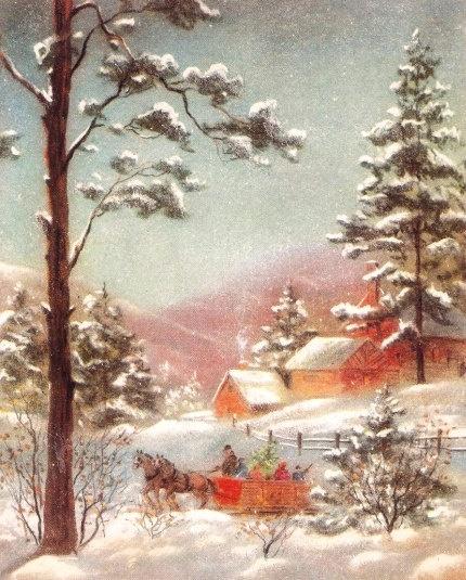 Vintage Christmas Card Rustic Winter Scene Trees Snow. $5.00, via Etsy.