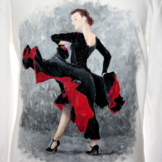 Hand painted 100% cotton jersey long-sleeved t-shirt. One-of-a-kind unique gift, customizable.