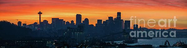 Burning Seattle Sunrise Panorama Photography by Mike Reid www.mikereidphotography.com