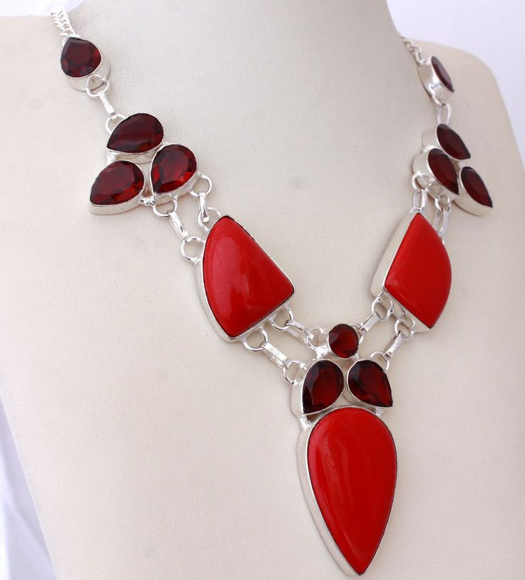 SIMULATED CORAL-GENUINE QUARTZ WOMENS FASHION 925 STERLING SILVER NECKLACE T517 #925silverpalace #Charm