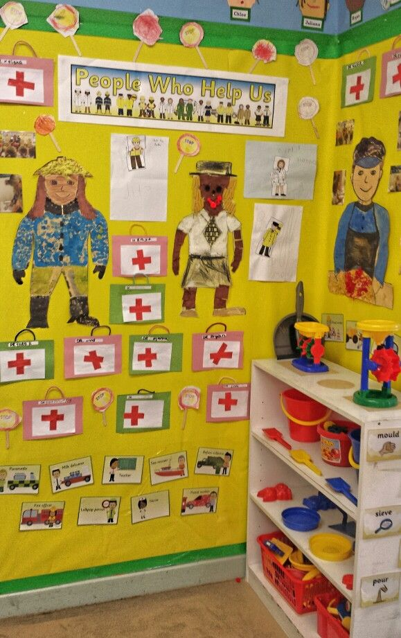 Nursery- people who help us display. Doctors bags to encourage writing.  Jigsaw pictures and small chracters pictures to encourage talking.